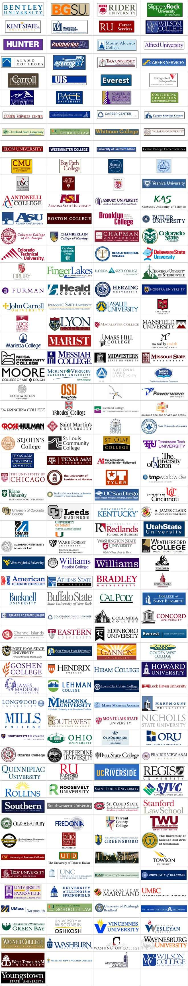 RECOGNITIONS: Alfred University, Athens State University, Bay Path College, Bentley University, Berea College, Bowling Green State University, Bridgewater State College, Buffalo State College, California Polytechnic State University, Carroll College, Central Connecticut State University, Central Michigan University, Centre College, Chicago-Kent College of Law, Cleveland State University, College of Staten Island, Colorado School of Mines, Columbia College, Corinthian Colleges, Inc., Elon University, Gannon University, Goshen College, Hunter College, James Madison University, John Carroll University, Kent State University, Kentucky Wesleyan College, Lehman College, Lewis-Clark State College, Loyola University Chicago, Macalester College, Madonna University, Maine Maritime Academy, Marist College, Mount Aloysius College, Nicholls State University, Northwestern College, Oral Roberts University, Pace University, Radford University, Regents of the University of Colorado, Rensselaer Polytechnic Institute, Rider University, Roosevelt University, Saint Anselm College, Saint Louis University, Slippery Rock University, Southern Connecticut State University, St. Cloud State University, St. Philip's College, State University of New York Institute of Technology, SUNY Fredonia, The Regents of the University of California, The University of North Carolina at Greensboro, Troy University, University of Alaska Anchorage, University of California, Riverside, University of Delaware, University of Illinois at Springfield, University of Illinois Roy J. Carver Biotechnology, University of Miami School of Law, University of North Carolina at Asheville, University of North Carolina at Chapel Hill, University of Oklahoma, University of Pittsburgh at Bradford, University of Southern Maine, Valparaiso University, Waynesburg University, Western New England College School of Law, Westminster College, Whitman College, Wilson College, Yeshiva University.